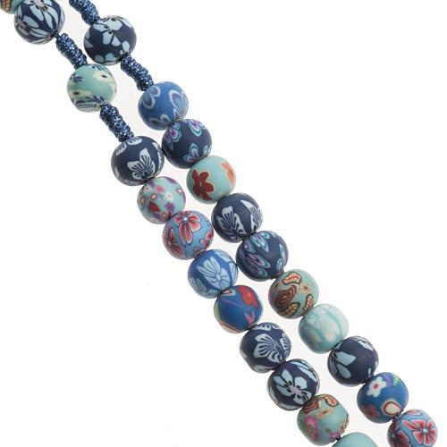 Medjugorje rosary in fimo, blue 3