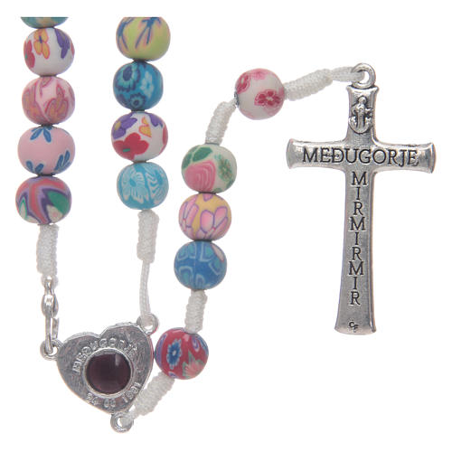 Medjugorje rosary in fimo, multicoloured 2