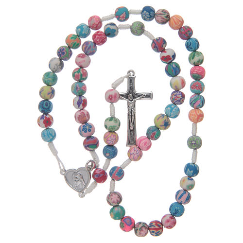 Medjugorje rosary in fimo, multicoloured 4