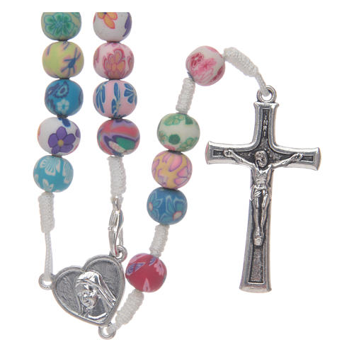 Medjugorje rosary in fimo, multicoloured 1