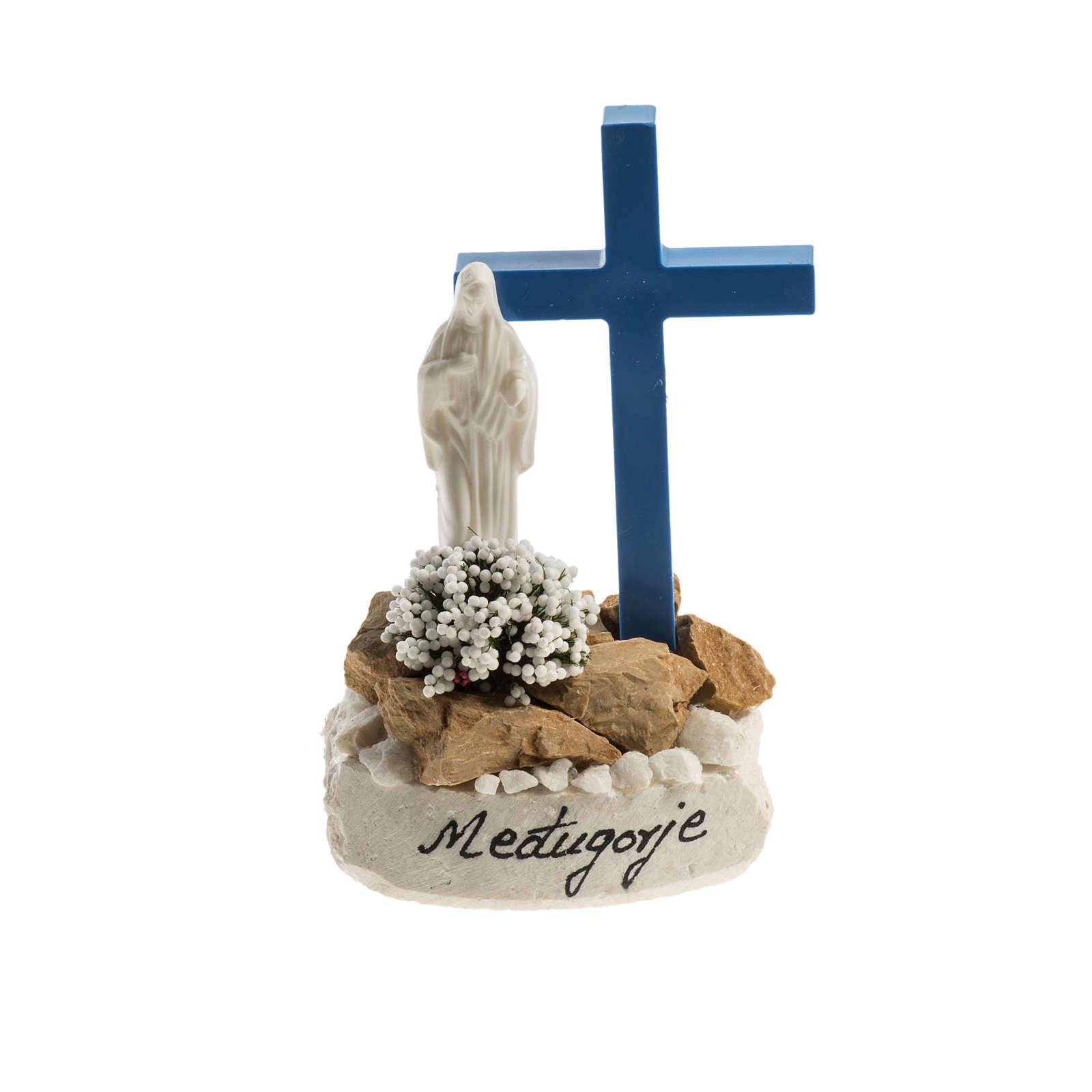 Statuetta croce blu Medjugorje 4