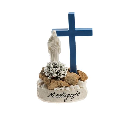 Statuetta croce blu Medjugorje 1