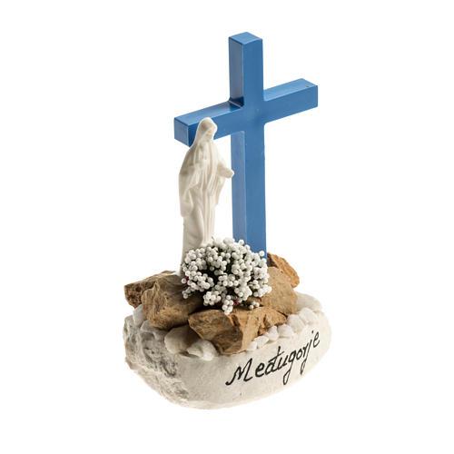 Statuetta croce blu Medjugorje 2