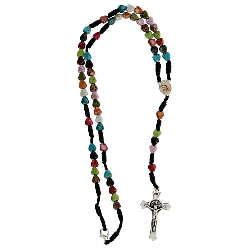 Medjugorje rosary with coloured hearts 4