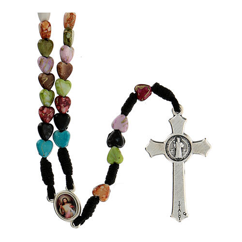 Medjugorje rosary with coloured hearts 2