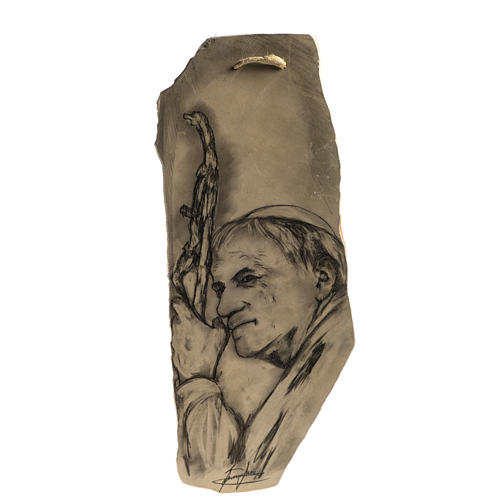 Tableau Pape Jean Paul II sur pierre rose 1