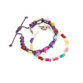 Bracelets, dizainiers: Bracelet enfants coeurs sur corde Medjugorje