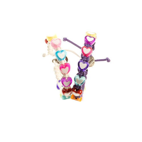 Bracelet enfants coeurs sur corde Medjugorje 2