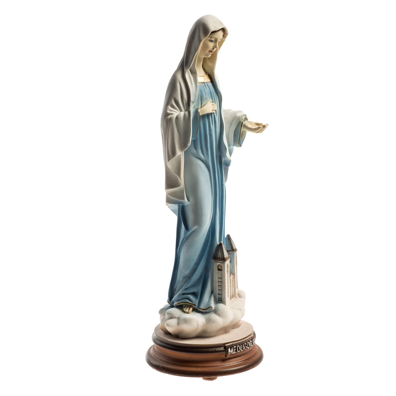 Estatua azul Reina de la Paz con iglesia Medjugorje 21 cm 4