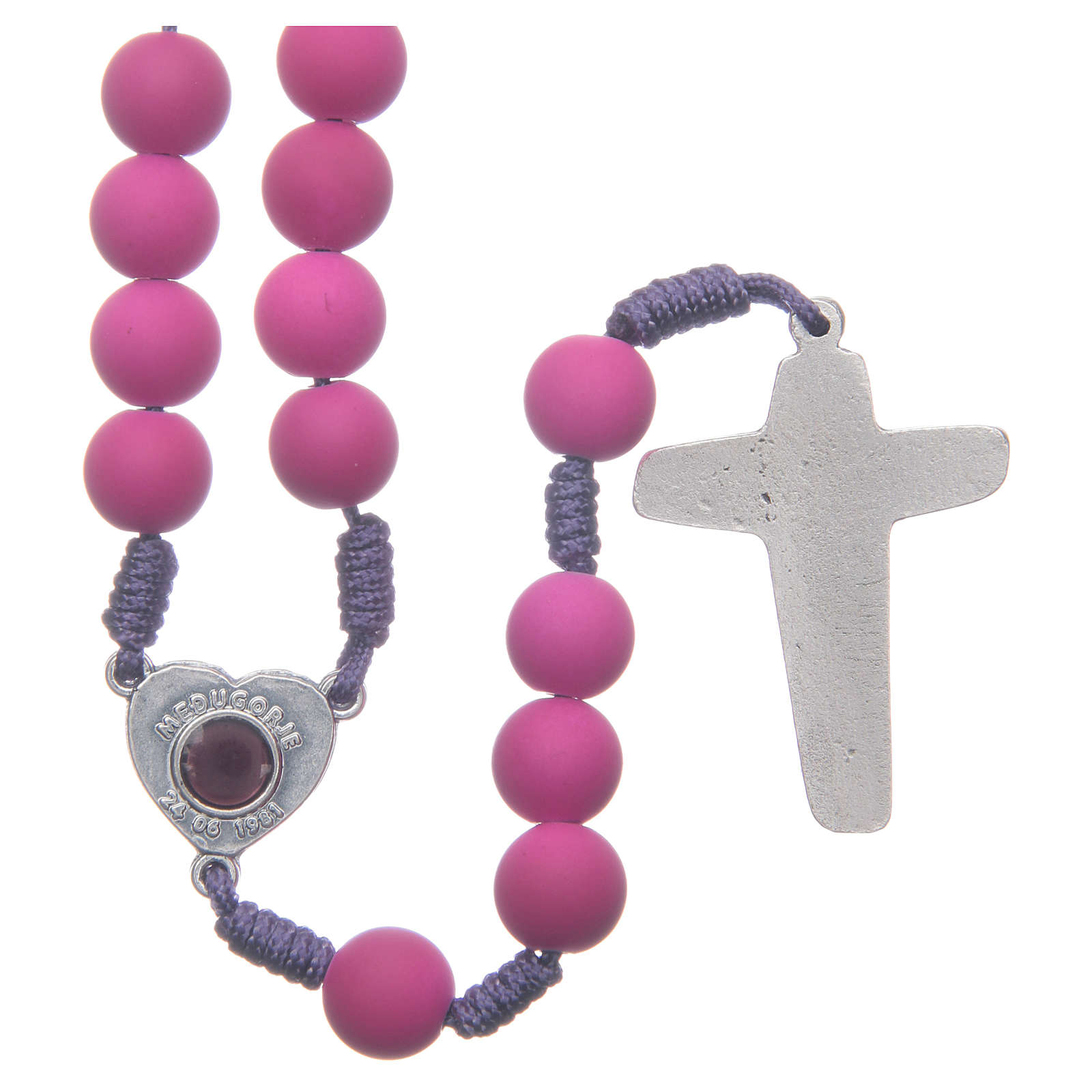Medjugorje rosary in purple fimo with Medjugorje soil 4
