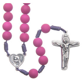 Medjugorje rosary in purple fimo with Medjugorje soil s1