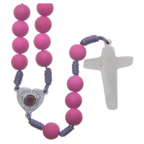 Medjugorje rosary in purple fimo with Medjugorje soil 2