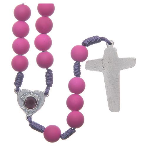 Medjugorje rosary in purple fimo with Medjugorje soil 2