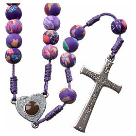 Medjugorje rosary in purple floral fimo with Medjugorje soil s2