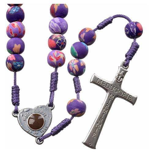 Medjugorje rosary in purple floral fimo with Medjugorje soil 2