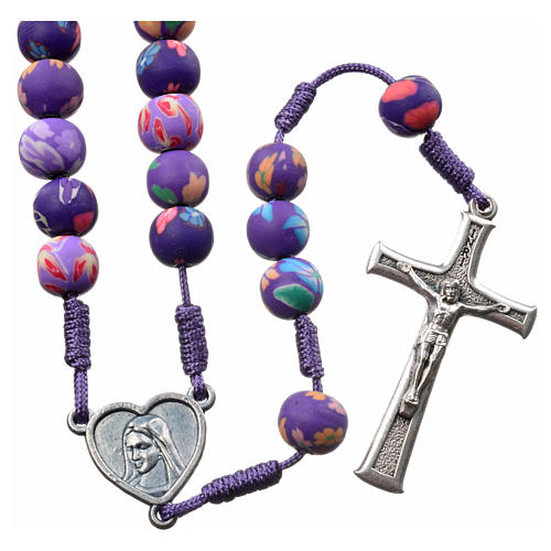 Medjugorje rosary in purple floral fimo with Medjugorje soil 1