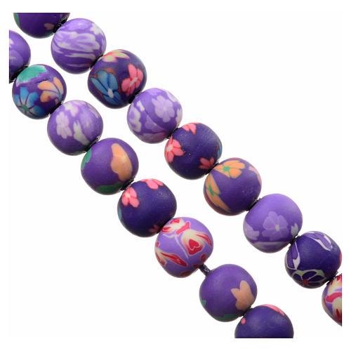 Medjugorje rosary in purple floral fimo with Medjugorje soil 3