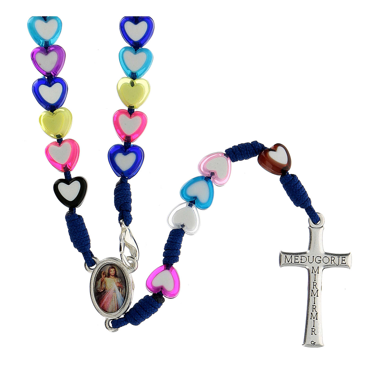 Medjugorje rosary in glass with coloured hearts 4
