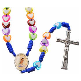 Medjugorje rosary in glass with coloured hearts s1