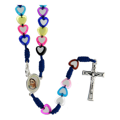 Medjugorje rosary in glass with coloured hearts 1