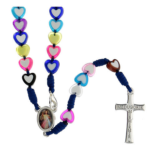 Medjugorje rosary in glass with coloured hearts 2