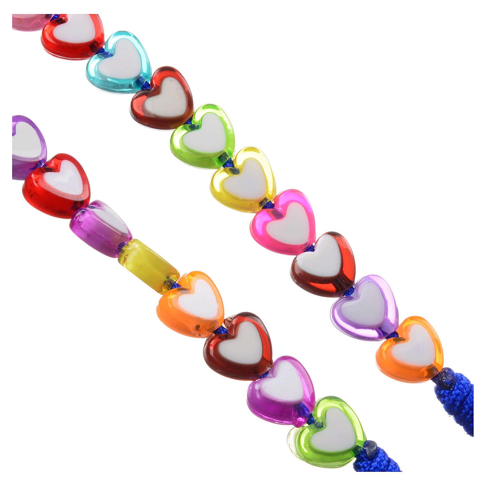 Rosario Medjugorje vidrio forma corazón de colores 4