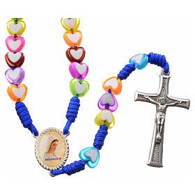 Rosario Medjugorje vidrio forma corazón de colores s1