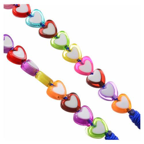 Rosario Medjugorje vidrio forma corazón de colores 3