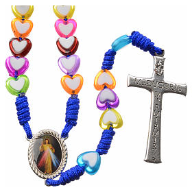 Medjugorje rosary in glass with coloured hearts s2