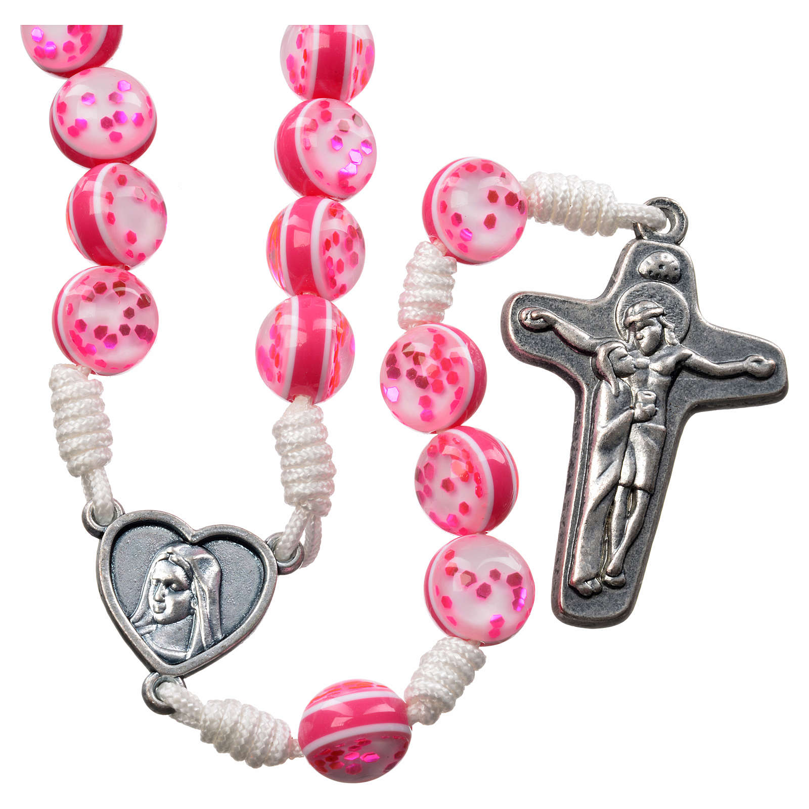Rosary with Medjugorje soil in pink glass and cord 4