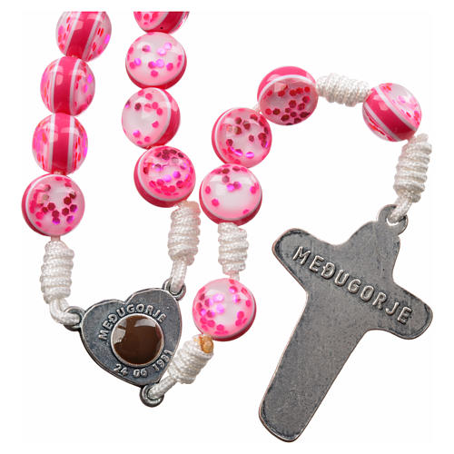 Rosary with Medjugorje soil in pink glass and cord 2