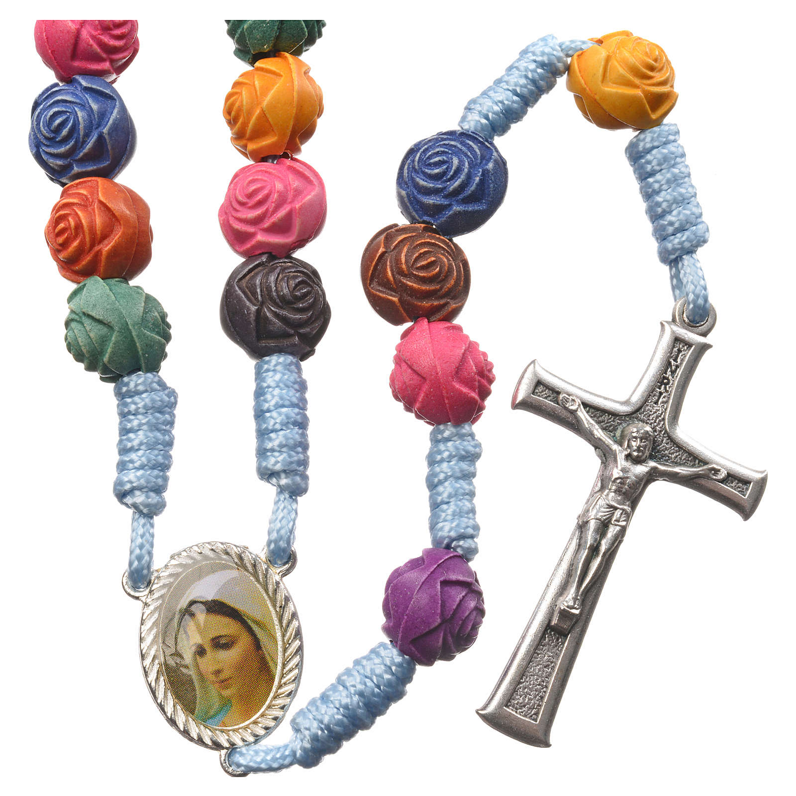 Medjugorje rosary in PVC with roses and cord 4