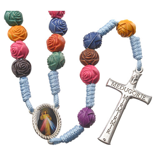 Medjugorje rosary in PVC with roses and cord 2