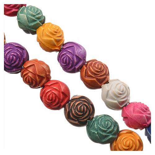 Terço pvc rosas fio Medjugorje 3