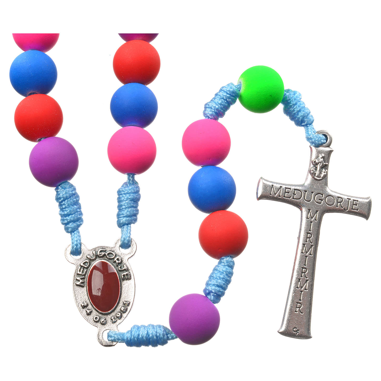 Medjugorje rosary in multicoloured fimo with Medjugorje soil 4