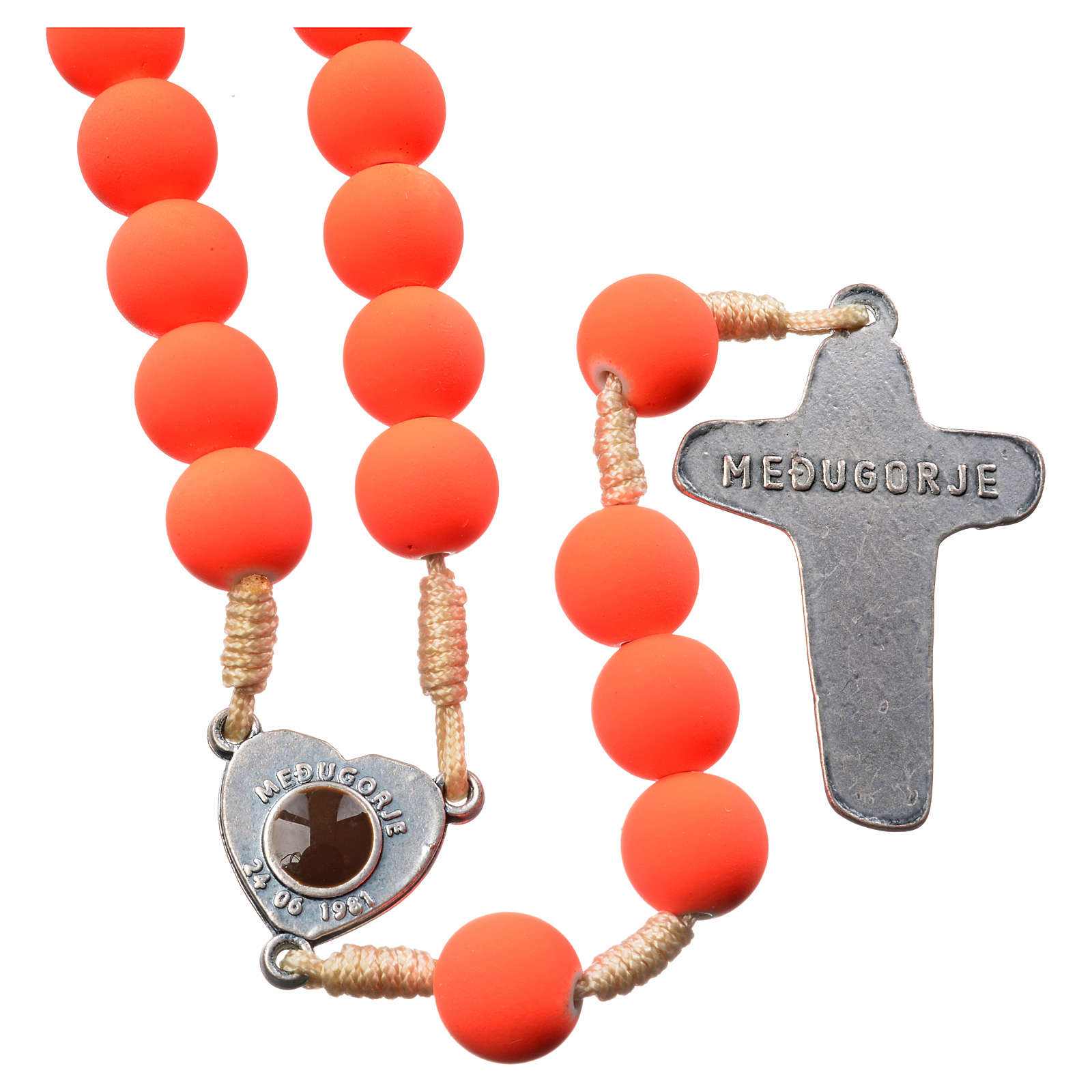 Medjugorje rosary in orange fimo with Medjugorje soil 4