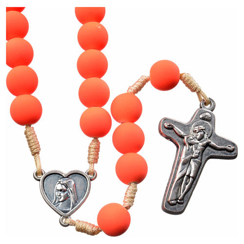 Medjugorje rosary in orange fimo with Medjugorje soil 1