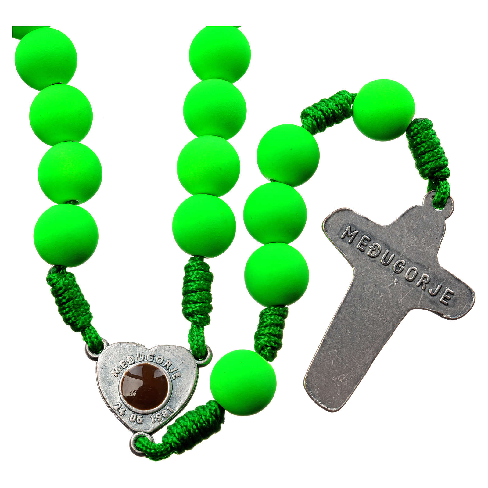 Medjugorje rosary in green fimo with Medjugorje soil 4