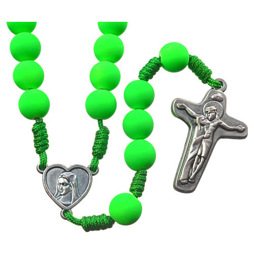 Medjugorje rosary in green fimo with Medjugorje soil 1