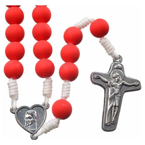 Medjugorje rosary in red fimo with Medjugorje soil 1
