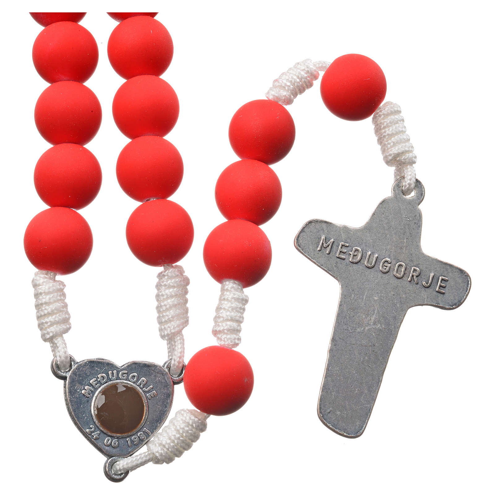 Medjugorje rosary in red fimo with Medjugorje soil 4