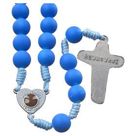 Medjugorje rosary in blue fimo with Medjugorje soil s2