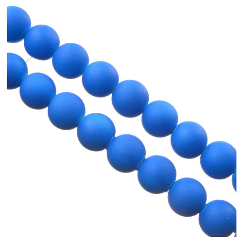 Medjugorje rosary in blue fimo with Medjugorje soil 3