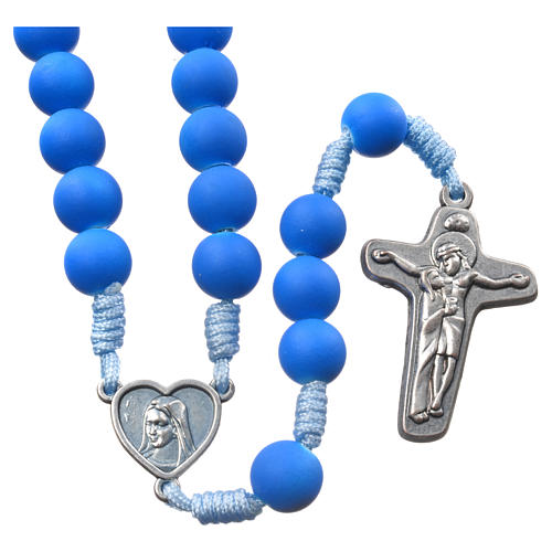 Medjugorje rosary in blue fimo with Medjugorje soil 1