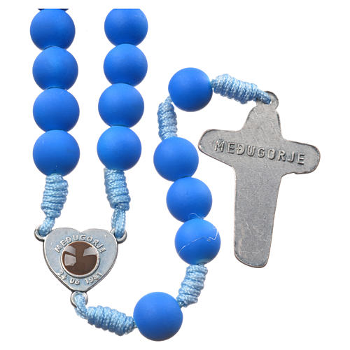 Medjugorje rosary in blue fimo with Medjugorje soil 2