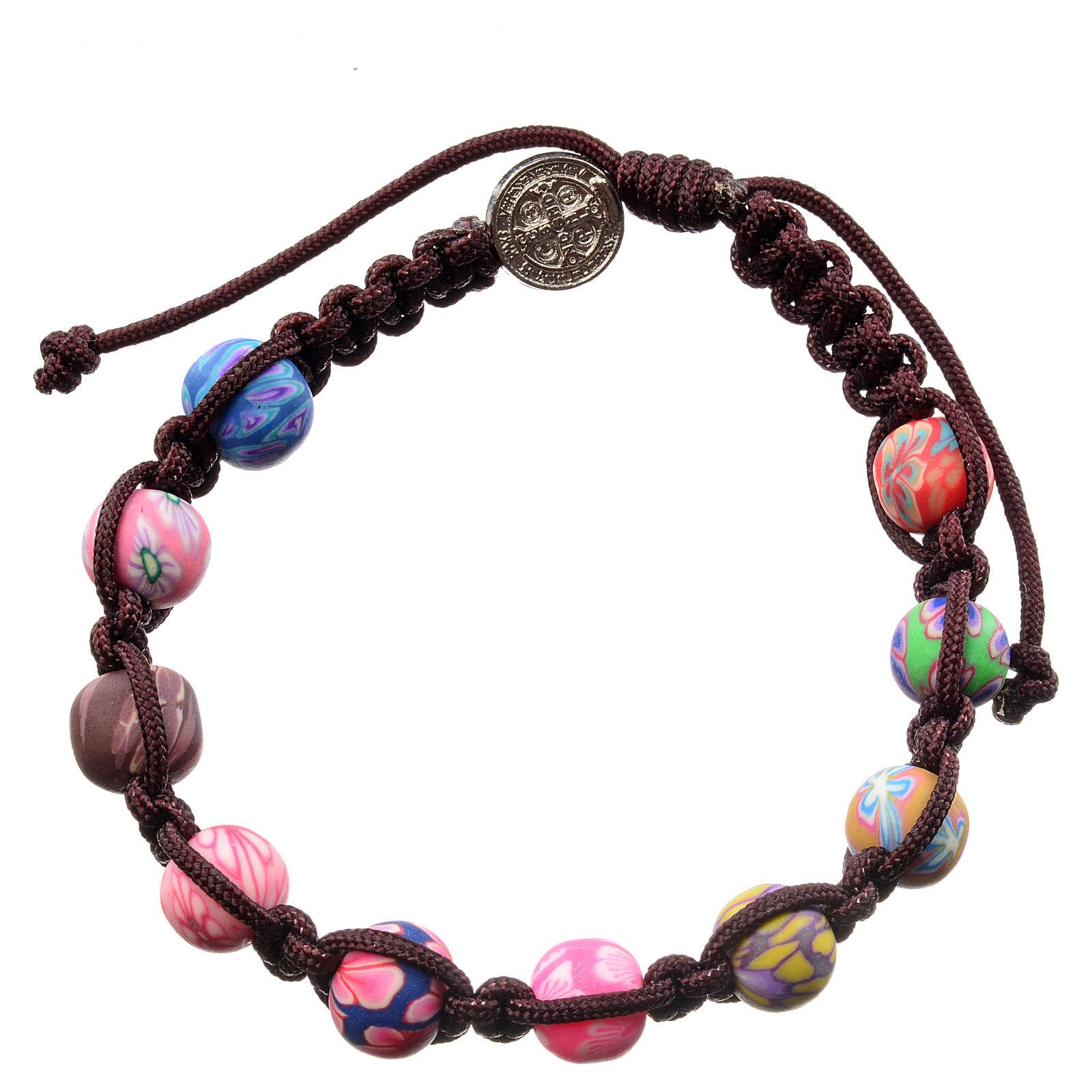 Bracelet Medjugorje fimo corde marron foncé 4