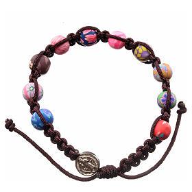 Bracelets, dizainiers: Bracelet Medjugorje fimo corde marron foncé