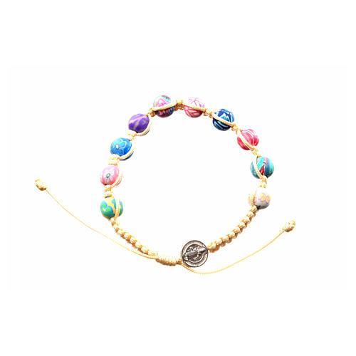 Armband Medjugorje beigen Band und Fimo Perlen 3