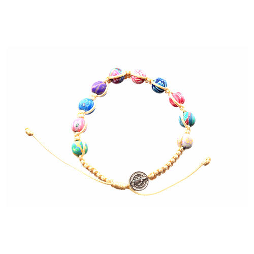 Medjugorje bracelet in fimo with beige cord 3