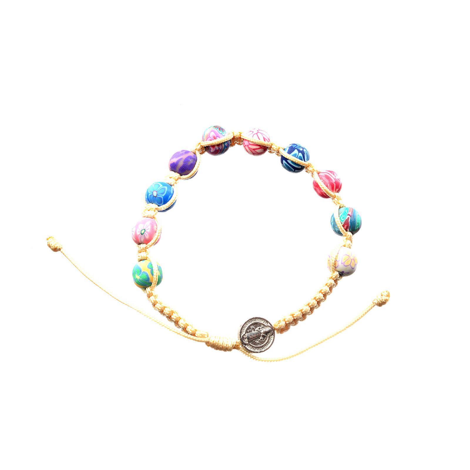 Bracelet Medjugorje fimo sur corde beige 4